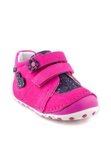 Cici Bebe Ayakkabı Cicibebe Nubuk Çiçek Ve Kalp Şekilli Cırtcırtlı Kız Çocuk Bot Fuşya